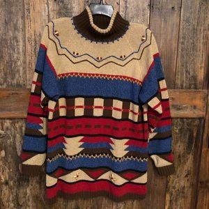 Liz Sport, S, Vintage Brown Striped Chunky Sweater